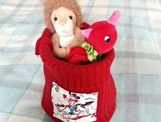 Recycled Fabric, 100 Pure, Storage Baskets, Making Out, Berry, Dinosaur Stuffed Animal, Recycling, Felt, Pure Products