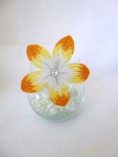 Sunburst Beaded Flower Hair Clip. $22.00, via Etsy.