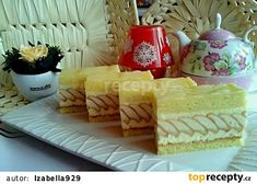 Tvarohové řezy s piškoty recept - TopRecepty.cz Sweet Recipes, Cake Recipes, Dessert Recipes, Czech Recipes, Cottage Cheese, International Recipes, Cake Decorating, Sweet Tooth, Cheesecake