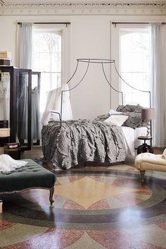 A textured duvet or comforter won't show wrinkles.