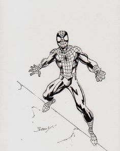 Spider Man by Mark Bagley Comic Drawing, Drawing Sketches, Drawings, Drawing Stuff, 2011 Ford Mustang, Mark Bagley, Bruce Timm, Spiderman Art, Black White Art
