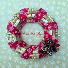 A beautiful Christmas wine cork wreath for the holidays from True Vine Gifts.