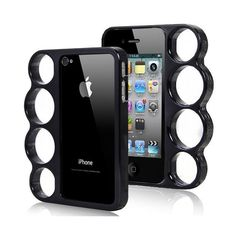 Brass Knuckles iphone Case (iphone 4 Black) with FREE SHIPPING ❤ liked on Polyvore featuring accessories, tech accessories, iphone sleeve case, apple iphone case, iphone cover case, brass knuckle iphone case and iphone cases