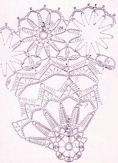Схема вязания крючком цветочной салфетки