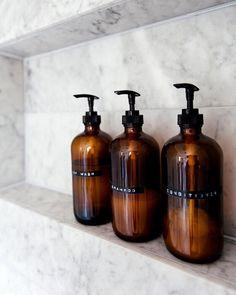 It's so simple, but transferring my mismatched toiletry bottles into these amb… - Selber Machen Ideen