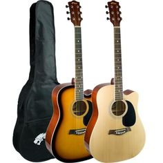 Tiger Cutaway Acoustic Guitar Packages - Startling sound quality, a comfortable cutaway design and first-rate playability, the ACG6 is the perfect choice for any beginner guitarist.