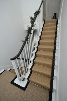 sisal stair runners Bowloom sisal stair runners with binding tape and Austin - Las Vegas Antique Brass stair rods Sisal Stair Runner, Staircase Runner, Stair Runners, Edwardian Staircase, Victorian Stairs, House Stairs, Carpet Stairs, Basement Stairs, Edwardian Haus