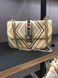 Valentino rockstud geometric striped bag