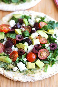 Open faced mediterranean pita sandwich | Green Valley Kitchen
