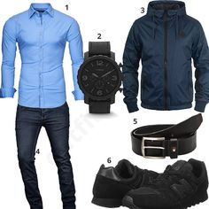Schicker Herren-Look mit hellblauem Hemd, Fossil Armbanduhr, Blend Jacke, Tommy Hilfiger Gürtel, New Balance Sneakern und A. Salvarini Jeans.