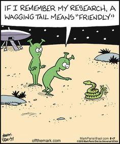 Humour Images fun Quand un animal remue la queue c'est qu'il est content Cartoon Jokes, Funny Cartoons, Funny Comics, Funny Jokes, Hilarious, Funny Picture Quotes, Funny Pictures, Ufo, Aliens Funny