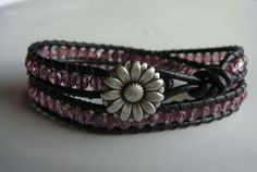 Purple Beaded Leather Wrap Bracelet with Daisy by tinacdesigns