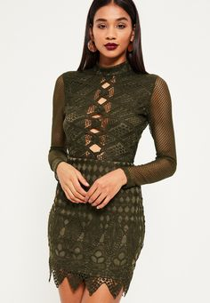 Missguided - Khaki lace lattice front detail bodycon dress