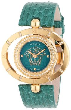 Versace Women's 91Q81FD220 S220 Rose Gold Ion-Plated Rotating Bezel Green Dial Snake Leather Diamond Watch