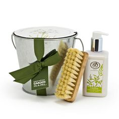 Garden Lover Gift Set  $60.00  For the gardener you love, give the gift of something that grows. This wonderful gift set includes our Paperwhites Garden Pail, Verde Hand and Body Lotion, and the simple, sustainable, and stunning Handmade Beech Nail Brush.