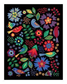 Songbirds Art Print | Etsy Scratch Art, Scandinavian Folk Art, Graduation Diy, Indian Folk Art, Mosaic Wall Art, Art Graphique, Mexican Folk Art, Flower Cards, Diy Painting