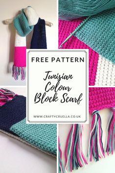 Tunisian Colour Block Scarf ~ a FREE crochet pattern by Crafty Cruella - Mamelo DIY Crochet Afghans, Tunisian Crochet Patterns, Crochet Patterns For Beginners, Crochet Scarves, Crochet Shawl, Knitting Patterns Free, Free Crochet, Crochet Stitches, Lace Patterns