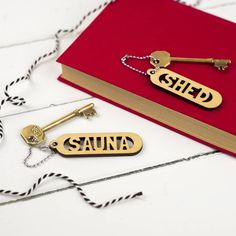 There is no chance of getting your keys confused with these laser cut key rings! By Auntie Mims.When you need to know which key opens which door, these are just the thing! Garage, shed, boathouse, barn.... the list could go on. But which key is which??? No need to wonder... it couldn't be more obvious when they are all clearly labelled. You could also have a name or any other word cut as a key ring. Made to order from laminated bircg wood, with a sturdy steel ring.The size of your order…