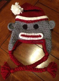 Santa Sock Monkey Hat  FREE SHIPPING by jenniferstgermain on Etsy, $28.00