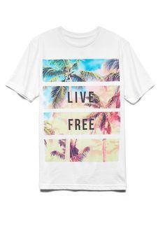 Live Free Cotton-Blend Tee | 21 MEN #GraphicTee #21Men #ForeverFest