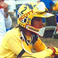 Bob Hannah contemplating the Hurricane that will soon be released on the track. Bob had one of the best helmet looks back in the day. Not many could rock a duckbill like Hannah. #motocrosshistory #motocross #bellhelmets #scottgoggles #yamaha #nationalchamp #bobhannah #thehurricane