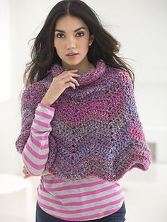 Softly Rippled Poncho - free crochet pattern by Lion Brand.