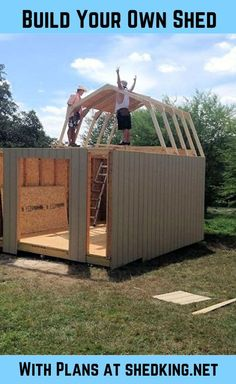 Have fun building your shed, tiny house, small cabin, chicken coop and more with easy to use building plans from shedking. All plans come with detailed bluepr Small Shed Plans, Small Sheds, Diy Shed Plans, Barn Plans, Backyard Sheds, Outdoor Sheds, Garden Sheds, Backyard Barn, Backyard Office