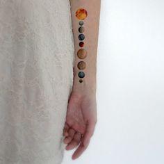 Temporary Tattoo Solar System Sun Moon Space Galaxy by Siideways