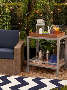 This outdoor bar cart has fun written all over it.