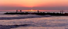 Fishing off the rock pile/jetty at sunset...Cape May Point, New Jersey