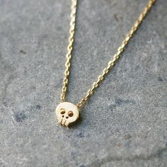 BLUSHED SURFACE GOLD SKULL NECKLACE SKULL PENDANT NECKLACE SKULL JEWELRY COSTUME by kellinsilver