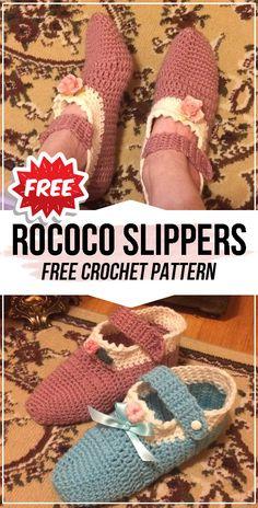 Crochet Rococo Slippers FREE Pattern - easy crochet Slippers pattern for beginners 10 Patterns to Make Crochet Slippers These ten patterns to make cro. Easy Crochet Slippers, Crochet Slipper Pattern, Crochet Patterns, Crochet Ideas, Crochet Hooks, Free Crochet, Crochet For Beginners, Knit Fashion, Rococo