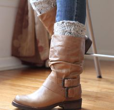 Boot Cuff Hand Knit Leg Warmers Wool Blend Cable by YingsStudio