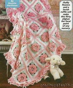 Ruffles amp Roses Baby Afghan Pattern By Rosetta Harshman Size: 40 x 47 Materials: sports weight yarn amp a size G crochet hook or size needed to obtain gauge. Skill level: Average  Birthday Cake Crochet Pattern By Eleanor Alban. Baby Afghan Crochet Patterns, Crochet Motifs, Crochet Squares, Baby Blanket Crochet, Granny Squares, Crochet Stitches, Crochet Blankets, Baby Blankets, Crochet Diagram