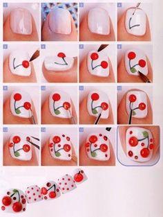 cherry Nail art tutorial DIY nails Polish Your Nails Like This na. Fruit Nail Designs, Toe Nail Designs, Nail Polish Designs, Nails Design, Nail Art Fruit, Cherry Nail Art, Toe Nail Art, Nail Art Diy, Nail Art Kawaii