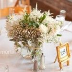 trio of mason jars as centerpiece of babies breath, astilbe, silver brunia and lisianthus. Renees Bokays