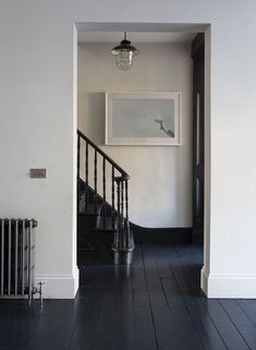 New dark wood floors paint stairs ideas can find Stairs and more on our website.New dark wood floors paint stairs ideas Black Floorboards, Painted Floorboards, Dark Wood Floors, Wood Walls, White Painted Wood Floors, Dark Flooring, Black Painted Stairs, Pallet Walls, Wall Wood
