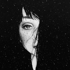eyes than heart Art Sketches, Art Drawings, Art Noir, Black And White Illustration, Galaxy Wallpaper, Oeuvre D'art, Dark Art, Cute Wallpapers, Art Inspo