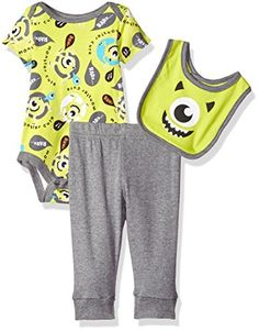 5570f9368 Disney Baby Boys' Monsters Inc. Bodysuit and Bib with Pant Set, Green,  Months: Your little boy will look adorable in this 3 piece set including a  ...