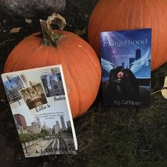 #booktoberfest Day 13: Books  pumpkins. Confession: these aren't my pumpkins. Had to borrow someone else's.