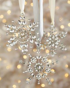 Add a twinkle of elegance to your home's holiday display with the Balsam Hill Snowflake Ornament Set.