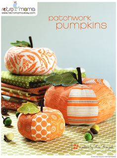 PDF Sewing Pattern Patchwork Pumpkins by retromama on Etsy,