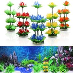 New Plastic Lotus Water Lily Artificial Plants Decoration For Aquarium Fish Tank #Unbranded
