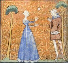 MS 1380: Roman de la Rose by Jean de Meun and Guillaume de Lorris. French. Showing bottom hem in contrasting color