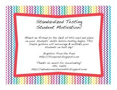 Print out these notecards, attach an Airhead candy, and give to your students on the morning of the big test as a form of motivation! Too Cool For School, School Stuff, Teacher Pay Teachers, Teacher Gifts, Encouraging Quotes For Students, Ms Smith, Student Motivation, Character Education, School Parties
