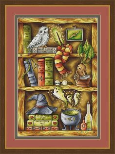 Harry Potter Cross Stitch Pattern PDF Instant Download Shelf Cross Stitch Owl Cross Stitch Book Cros