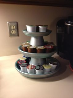 Craft for kcup holder as a gift   I'm using my tiered terracotta plates as a k-cups holder for our Keurig.