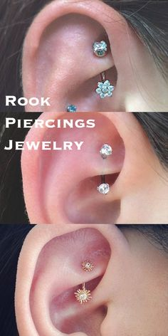Pretty Ear Piercing Ideas at MyBodiArt.com - Rook Piercing Jewelry 16G Barbells Crystal Flower Sun Gold Silver