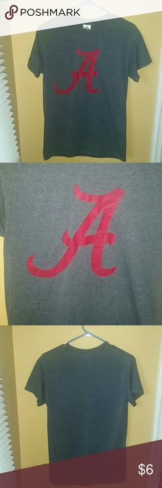 Grey/red Alabama t shirt 50%cotton,50%polyester, machine wash cold, tumble dry medium. Size S, pre-shrunk adult. EUC. New Agenda Tops Tees - Short Sleeve