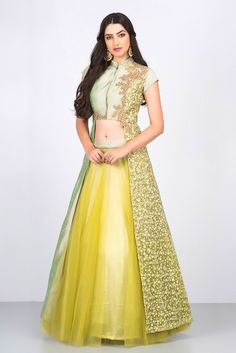 Rent NIYOOSH - Green Floral Embroidered Jacket With Green Lehenga.
